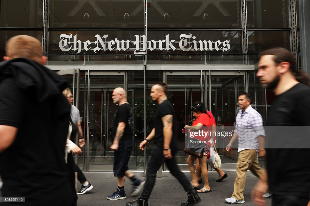 New York Times Posts Strong Quarterly Earnings On Rise In Digital Ads And Readership : News Photo