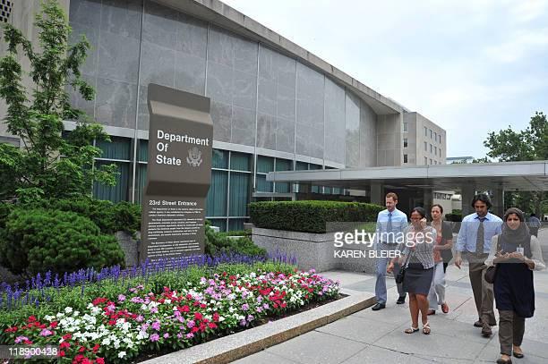 people walk past the US State Department building July 6 2011 in Washington DC Karen BLEIER
