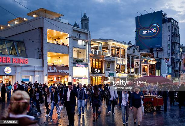 People walk the Istiklal Cadesi near the Taxim Square in the district Beyoglu on October 16, 2009 in Istanbul, Turkey. The Turkish metropolis on the...
