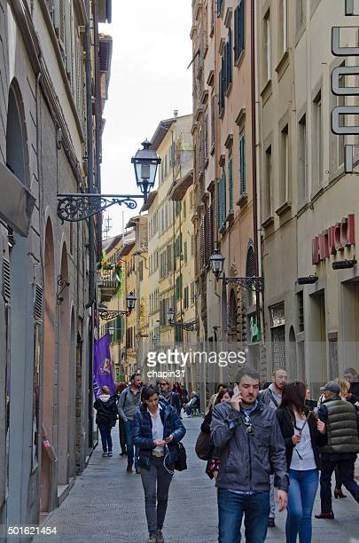 People Walk the Streets of Florence, Italy