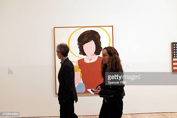 People walk through a gallery at the relocated Whitney Museum of American Art in Manhattan's meatpacking district on April 23 2015 in New York City...