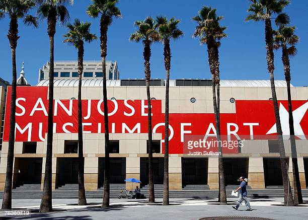 People walk through a plaza in front of the San Jose Museum of Art August 29 2007 in San Jose California The US Census Bureau released its newest...