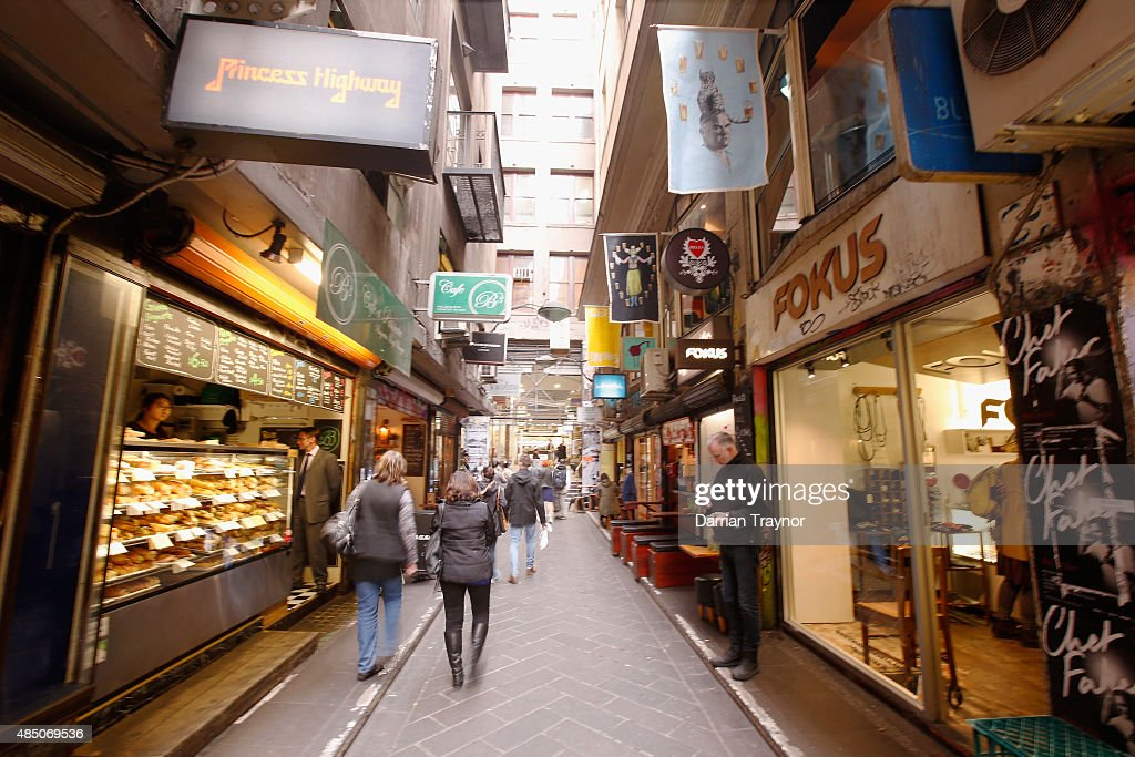 People walk through Centre Place on August 24, 2015 in Melbourne, Australia.