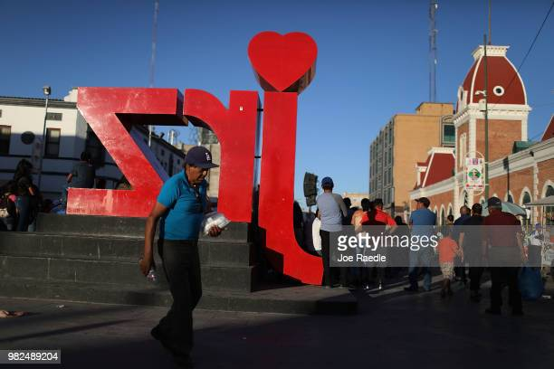 People walk through the central plaza on June 23 2018 in Ciudad Juarez Mexico The Trump administration created a policy of zero tolerance creating...