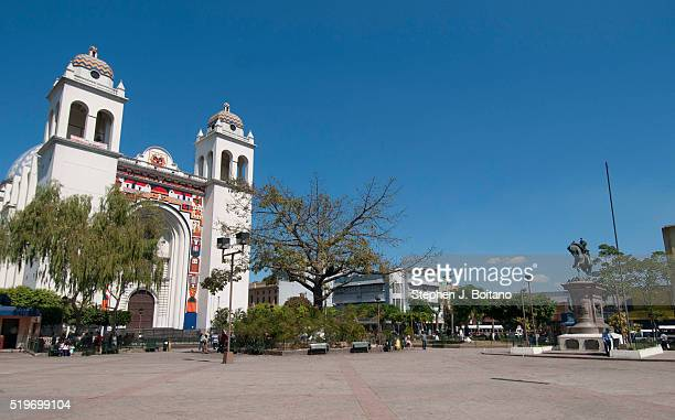 People walk through the Gerardo Barrios Square which is located in the historic center of the city of San Salvador The square is a landmark in the...