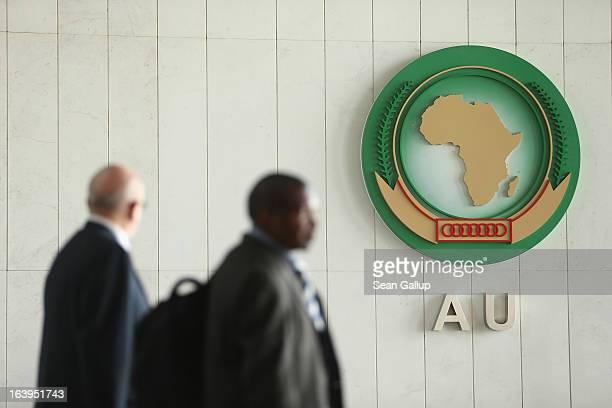 People walk through the main lobby at the headquarters of the African Union on March 18 2013 in Addis Ababa Ethiopia Ethiopia with an estimated 91...