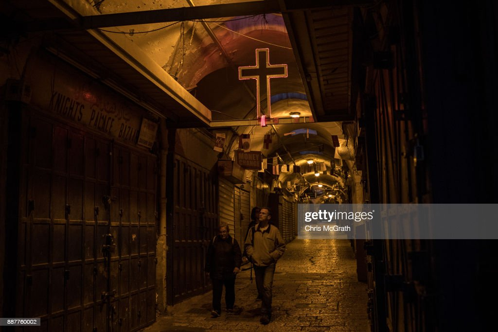 People walk through the Old City on December 7, 2017 in Jerusalem, Israel. Tension is high in Jerusalem a day after U.S President Donald Trump's announcement recognizing Jerusalem as the capital of Israel. President Trump went ahead with the announcement despite warnings from Middle East leaders and the Pope condemning the decision. Clashes between Israeli forces and Palestinian protesters erupted in several West Bank cities.