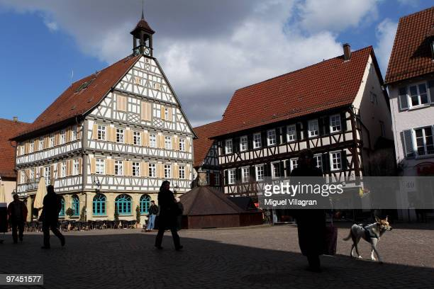 People walk through the pedestrian zone in the city center on March 5 2010 in Winnenden Germany Tim Kretschmer opened fire on teachers and pupils at...
