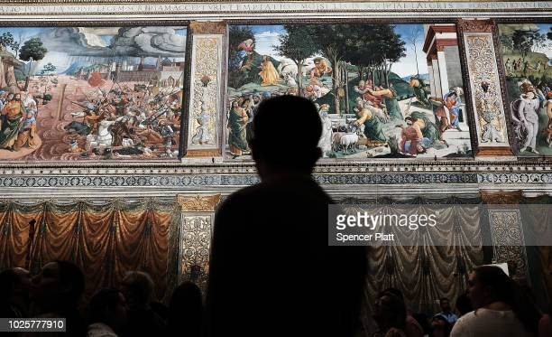 People walk through the Sistine Chapel at the Vatican Museums on September 01 2018 in Vatican City Vatican Tensions in the Vatican are high following...