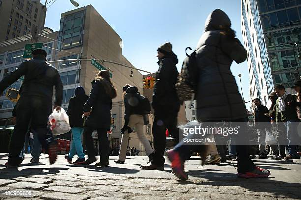 People walk through Union Square on March 27 2014 in New York City According to estimates released on Thursday by the United States Census Bureau New...