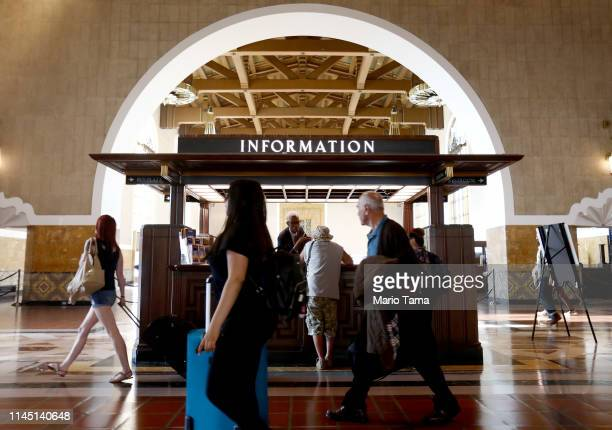 People walk through Union Station downtown on April 25 2019 in Los Angeles California According to a Bloomberg study of the most recent Bureau of...