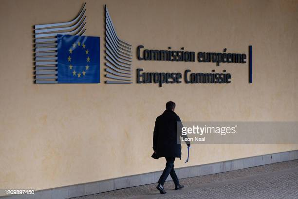 People walk towards the European Commission within the Berlaymont building on March 02, 2020 in Brussels, Belgium. The UK chief negotiator David...