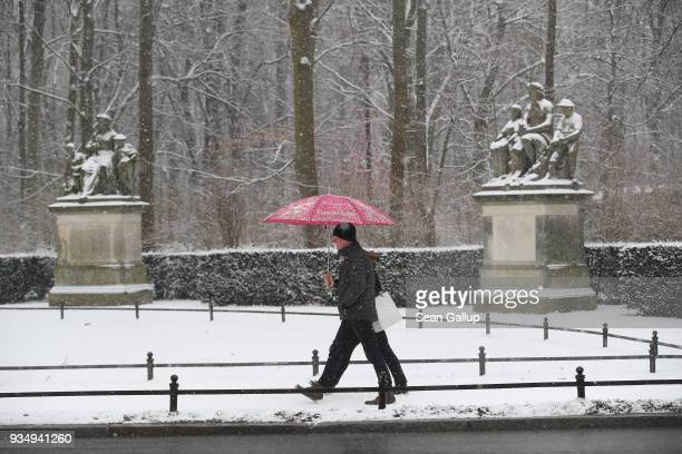 People walk under snow in Tiergarten park in the city center on March 20 2018 in Berlin Germany Snow is falling across Germany and weather forecasts...
