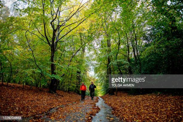 People walk under trees in Epping Forest in north-east London on October 21, 2020.