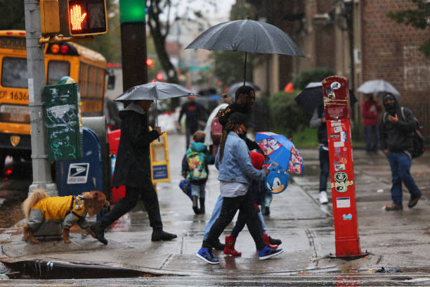 NY: Autumn Nor-Easter Drenches New York City