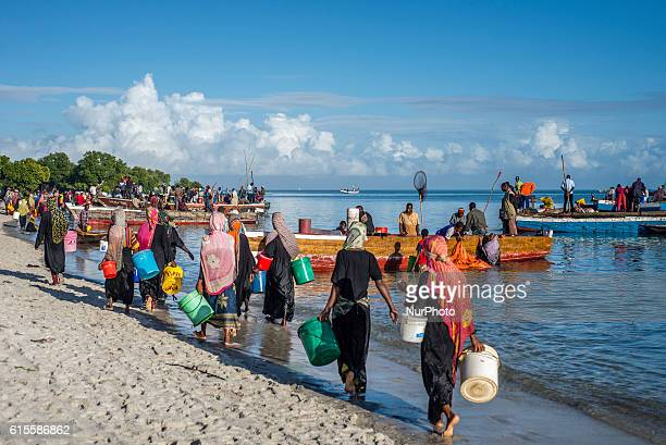 People walk with buckets in their hands to buy anchovies locally called Dagaa from the fishermen's boats in Mkokotoni village Zanzibar These people...