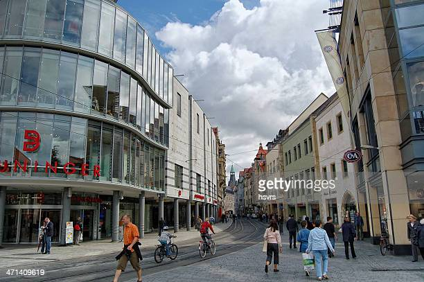 people walking along at erfurt city (thuringia - germany) - erfurt stock pictures, royalty-free photos & images