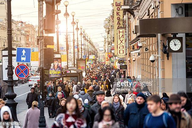 People walking along Nevsky Prospekt street.
