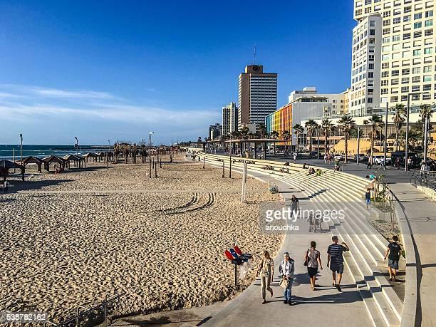 People walking along Tel Aviv beaches, Israel