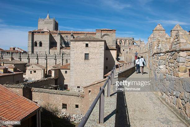 People walking along top of city walls.
