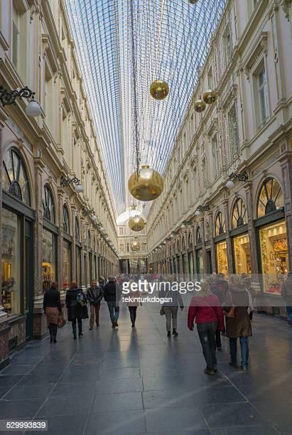 people walking at galeries royales st hubert in brussel belgium