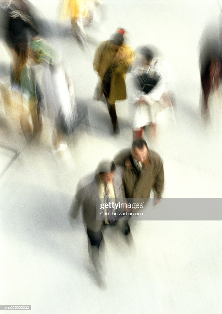 People walking, blurred motion, high angle view : Stockfoto