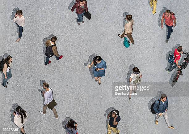 People walking different directions, Aerial Views