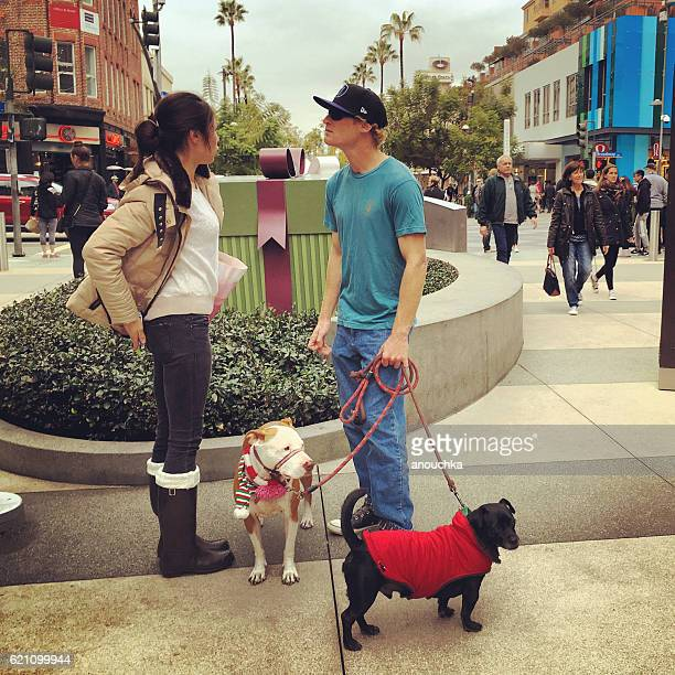 People walking dogs on Santa Monica street, CA, USA