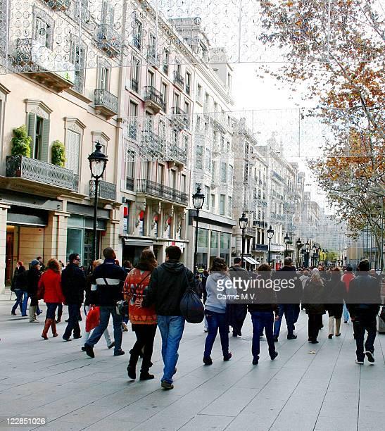 People walking down street