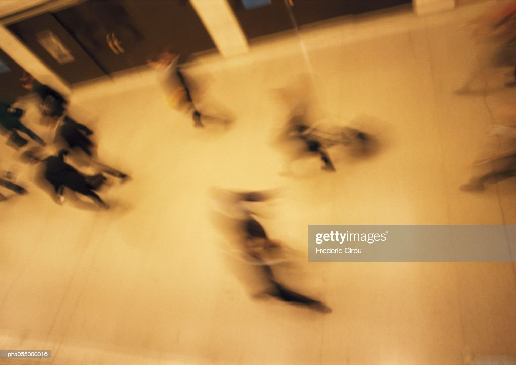 People walking, high angle view, blurred : Stock Photo