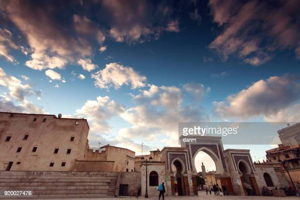 people walking in Bab Bou Jeloud gate (The Blue Gate) located at, Morocco,