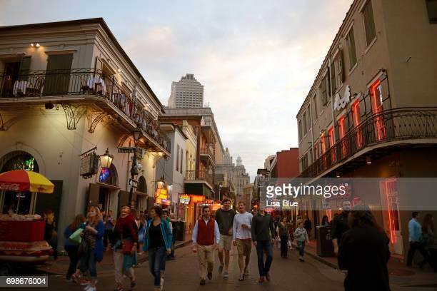 People walking in Bourbon street, New Orleans