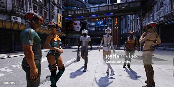 People walking in city wearing futuristic virtual reality helmets