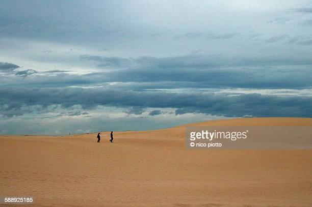 People walking in Fuerteventura desert