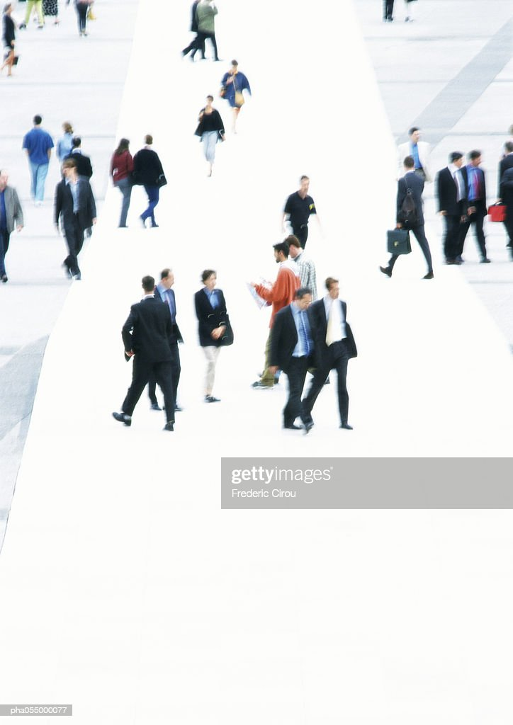 People walking in public square, high angle view : Stockfoto