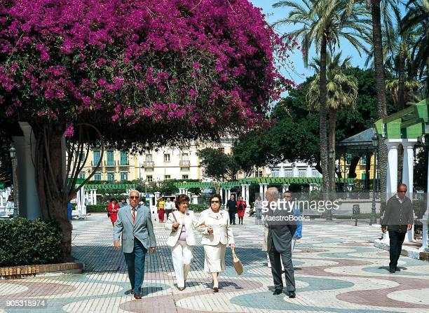 メリリャの植物庭園を歩いて人々 - 一張羅 ストックフォトと画像