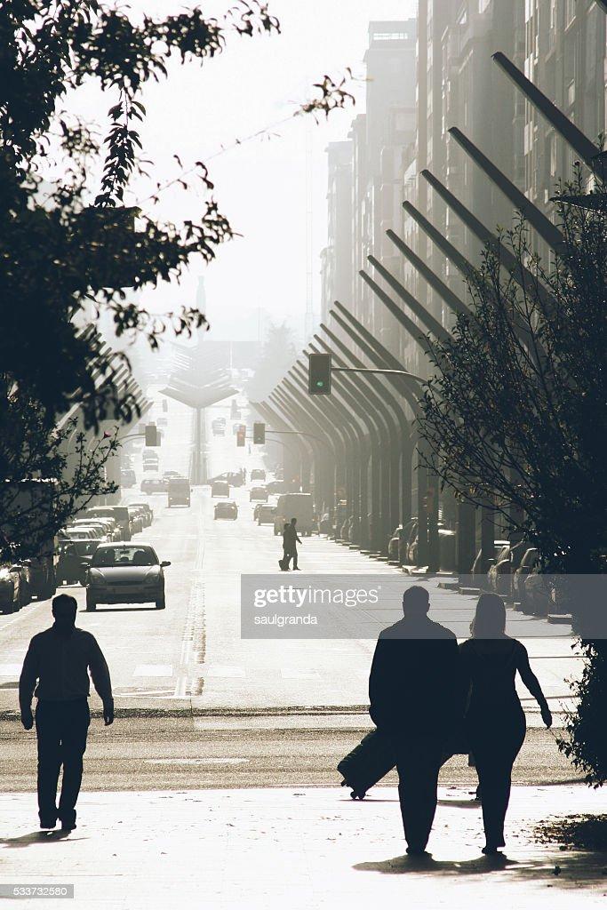 People walking in the street in a sunny day, Gijon, Asturias, Spain : Foto stock