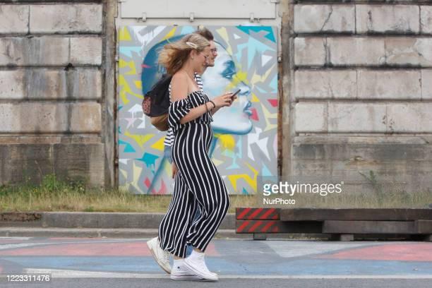 People walking in the street in Paris on June 27 2020