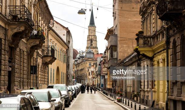 People walking in the street in the old town of Cluj Napoca, Romania