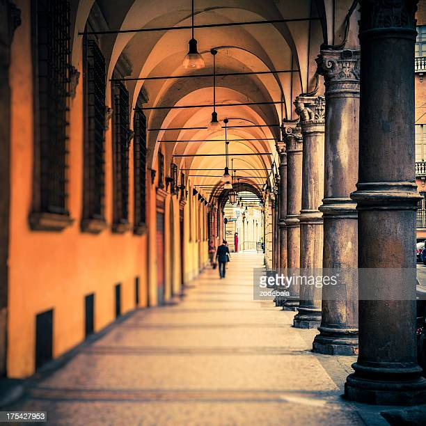 People Walking in the Streets of Bologna, Italy
