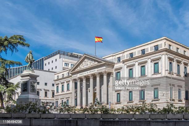 people walking next to the palacio de las cortes (congress of deputies) at central madrid city. spain. - congress of deputies stock pictures, royalty-free photos & images