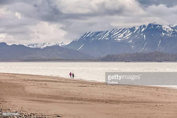 people walking on beach, homer spit, kachemak bay, alaska, usa - kachemak bay stock pictures, royalty-free photos & images