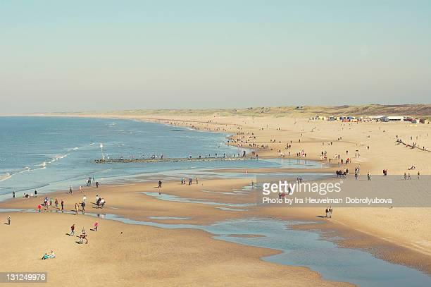 people walking on beach of north sea coast - la haye photos et images de collection