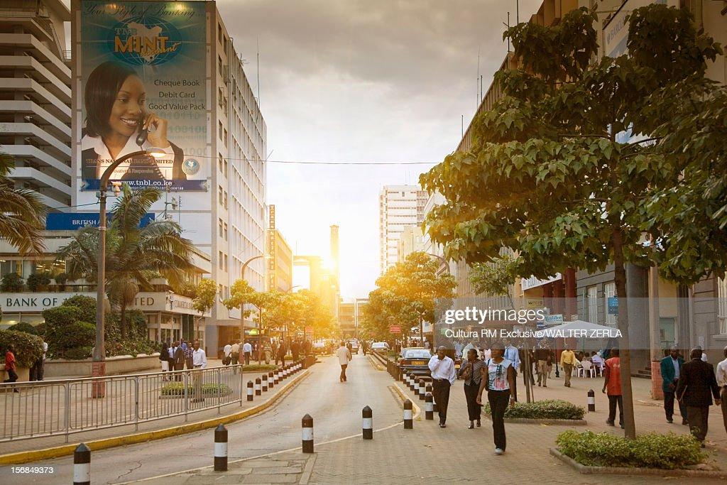 People walking on city street : Stock Photo