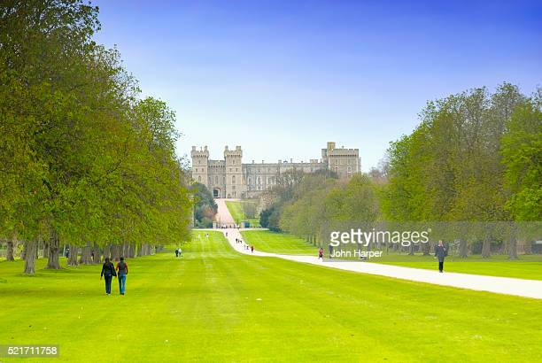 People Walking on Grounds of Windsor Castle