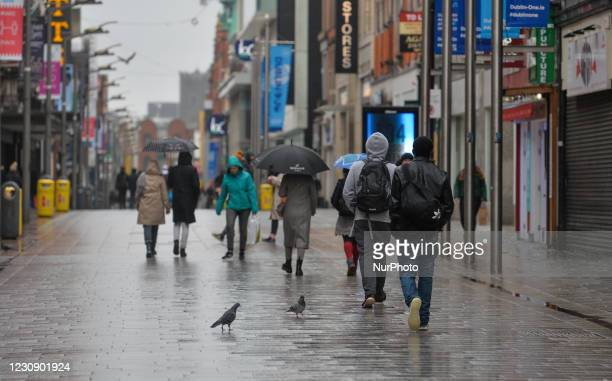 People walking on Henry Street in Dublin during Level 5 Covid-19 lockdown. On Sunday, 31 January in Dublin, Ireland.