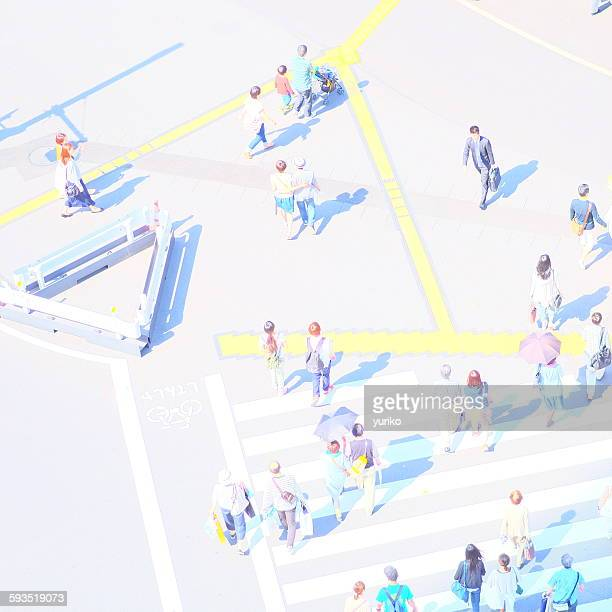 People walking on lines