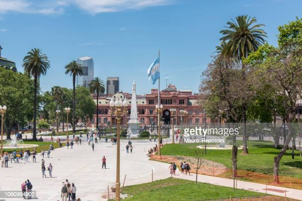 People walking on Plaza de Mayo at Buenos Aires, Argentina.