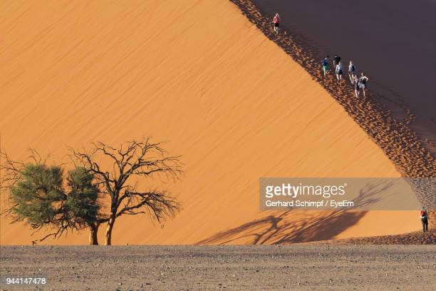 people walking on sand dune against sky - gerhard schimpf stock photos and pictures
