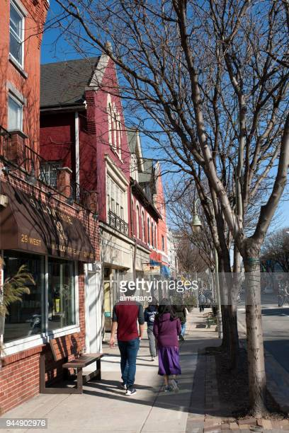 people walking on street in ardmore - ardmore pennsylvania stock pictures, royalty-free photos & images